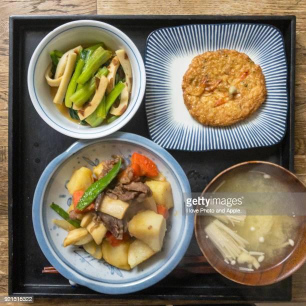 Japanese dishes, Nikujaga Satsuma age, Komatsuna, Miso soup