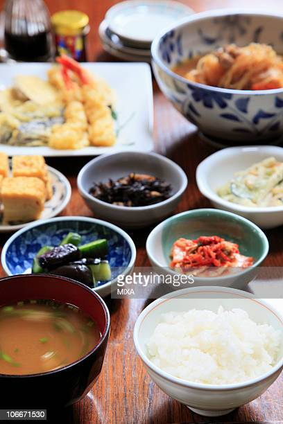 Japanese dishes on table