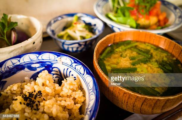 Japanese dishes on the tray