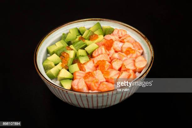 Japanese Donburi with Salmon,Avocado and Caviar