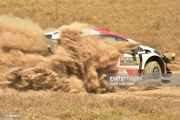 Japanese driver Takamoto Katsuta steers his Toyota Yaris WRC with British co-driver Daniel Barritt during the SS10 stage of the 2021 Safari Rally...
