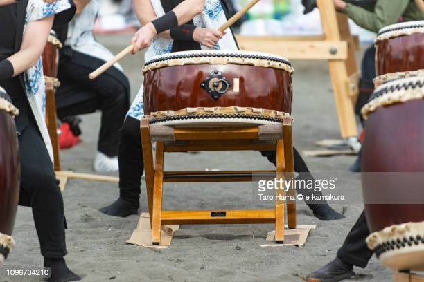 Japanese drum on the winter beach for coming-of-age ceremony in Japan