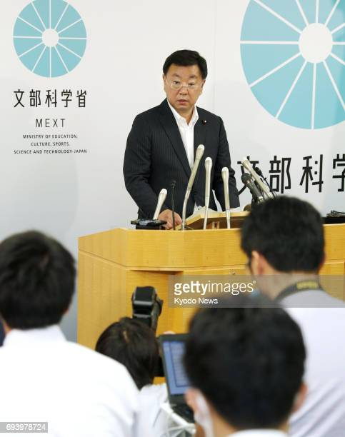 Japanese education minister Hirokazu Matsuno speaks at a press conference in Tokyo on June 9, 2017. Matsuno said his ministry will launch a fresh...