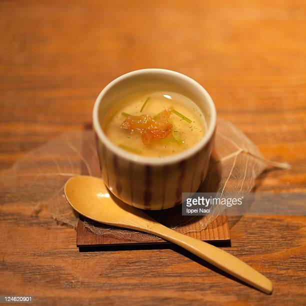 japanese egg custard chawanmushi on wooden table - chawanmushi stock pictures, royalty-free photos & images
