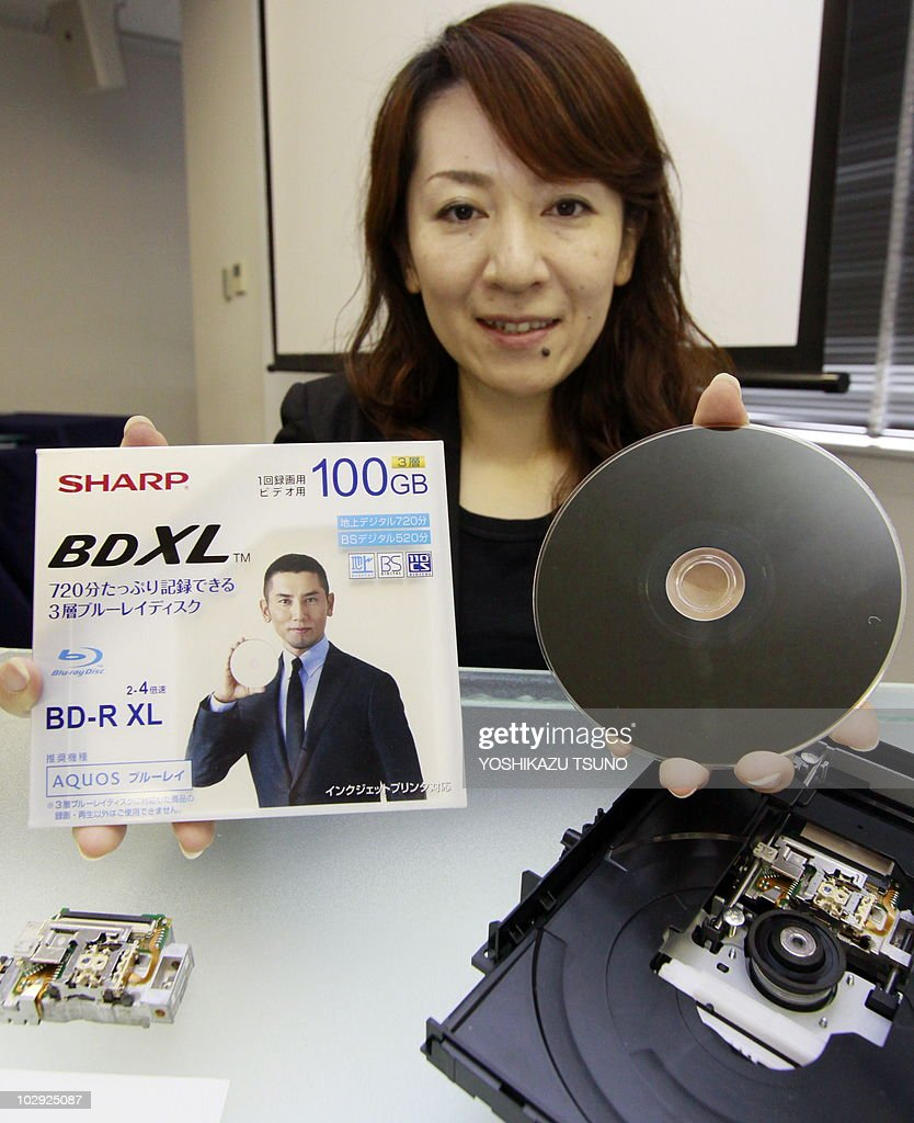 Japanese electronics giant Sharp employee displays the BDXL