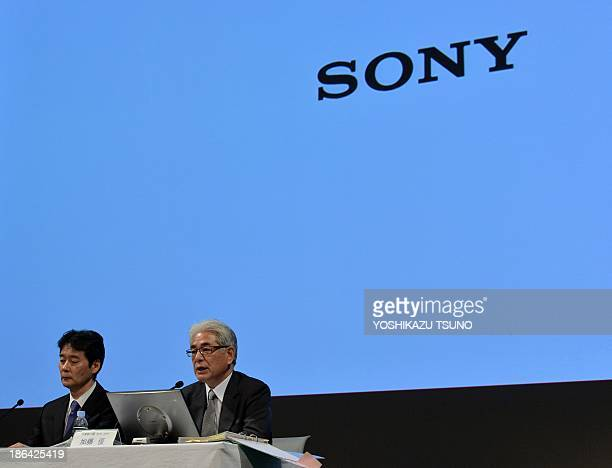 Japanese electronics giant Sony chief financial officer Masaru Kato announces the company's first half financial result ended September at the...