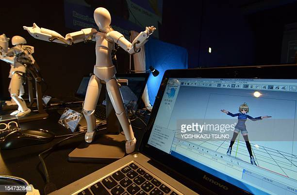 Japanese electronics venture Celsys displays their motion capture system 'Qumarion' at a press preview at the annual Digital Contents Expop in Tokyo...