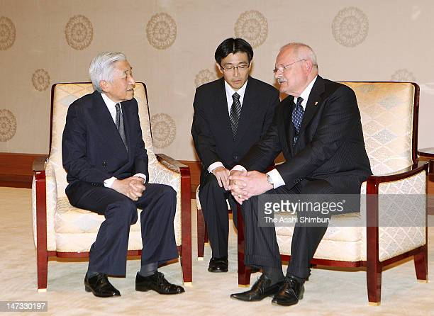 Japanese Emepror Akihito and Slovak President Ivan Gasparovic talk at the Imperial Palace on June 27, 2012 in Tokyo, Japan. Gasparovic is on five...