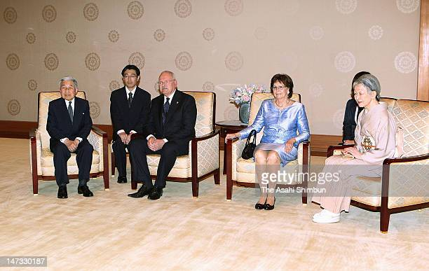 Japanese Emepror Akihito , Slovak President Ivan Gasparovic , his wife Silvia and Empress Michiko pose for photographs during their audience at the...