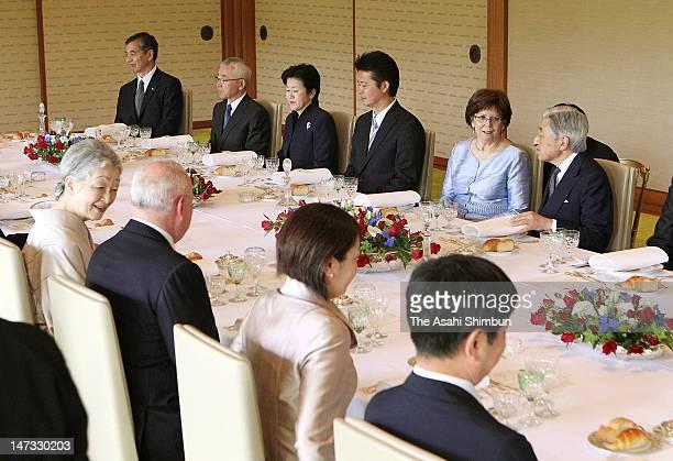 Japanese Emepror Akihito speaks to Silvia, wife of Slovak President Ivan Gasparovic, Empress Michiko and , his wife Silvia while Empress Michiko and...
