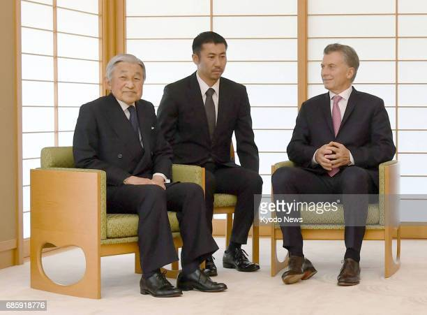 Japanese Emperor Akihito and Argentine President Mauricio Macri hold talks at the Imperial Palace in Tokyo on May 20 2017 ==Kyodo