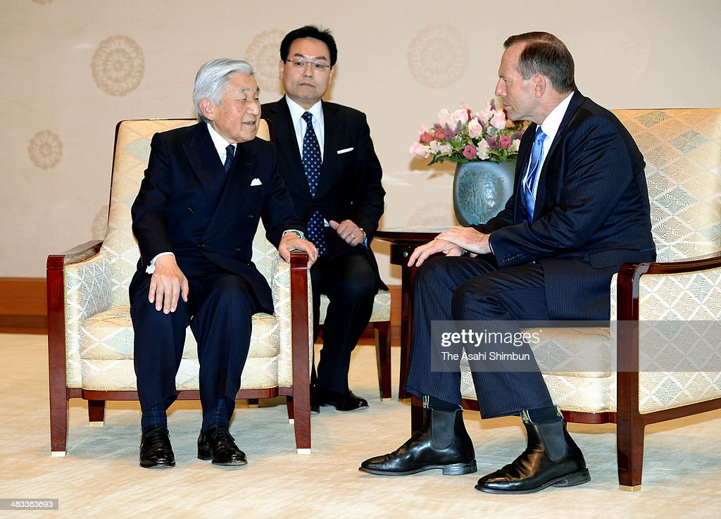Japanese Emperor Akihito (L) and Australian Prime Minister Tony Abbott talk during their meeting at the Imperial Palace on April 7, 2014 in Tokyo, Japan. Abbott is on tour to Japan, South Korea and Japan.