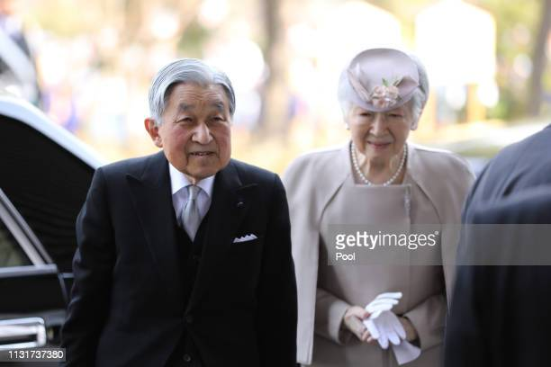 Japanese Emperor Akihito and Empress Michiko arrive at the National Theatre of Japan to attend the memorial ceremony in commemoration of the 30th...