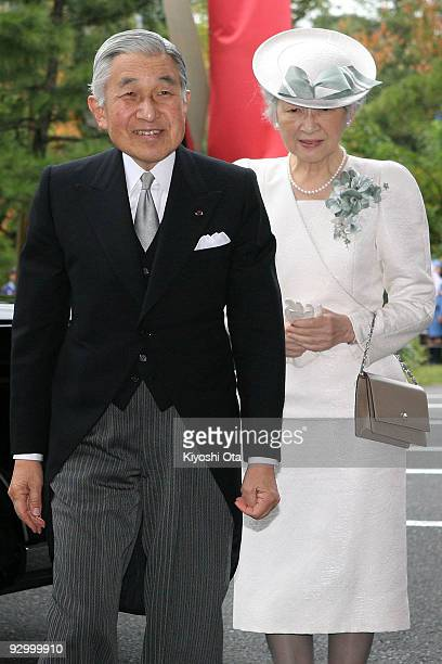 Japanese Emperor Akihito and Empress Michiko arrive at the National Theatre of Japan to attend the memorial ceremony in commemoration of the 20th...