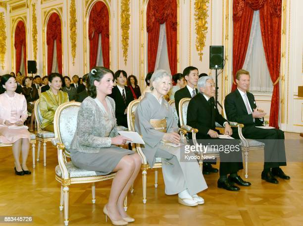 Japanese Emperor Akihito and Empress Michiko attend a concert hosted by Luxembourg's Grand Duke Henri along with his eldest daughter Princess...