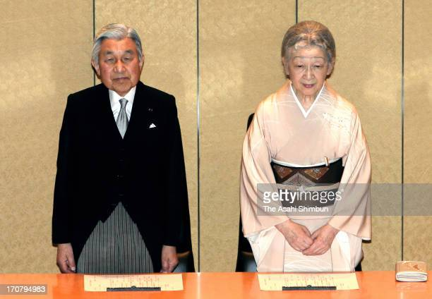 Japanese Emperor Akihito and Empress Michiko attend the Japan Academy award ceremony at their headquarters on June 17, 2013 in Tokyo, Japan.
