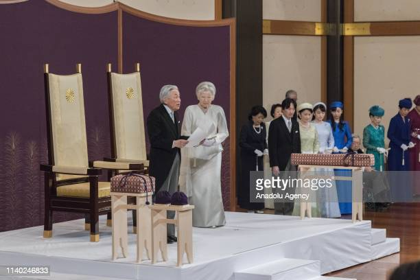 "Japanese Emperor Akihito and Empress Michiko attend the ""Taiirei Seiden no gi"" abdication ceremony for the emperor at the Imperial Palace in Tokyo,..."