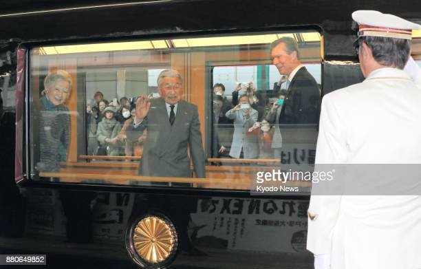Japanese Emperor Akihito and Empress Michiko depart Tokyo station on Nov 28 2017 along with Luxembourg's Grand Duke Henri and his eldest daughter...