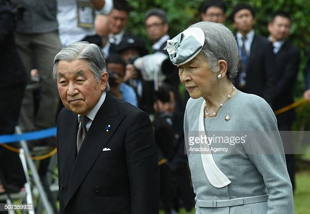 Japanese Emperor Akihito and Empress Michiko join the relatives of the fallen Japanese soldiers of World War II during a ceremony at a Japanese war...