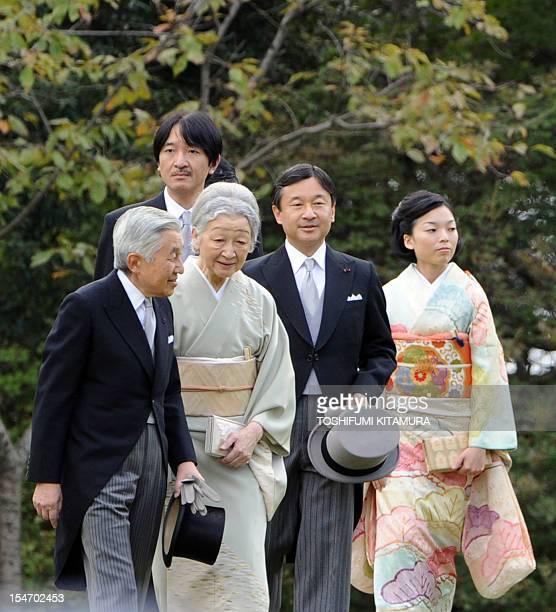 Japanese Emperor Akihito and Empress Michiko lead Crown Prince Naruhito Prince Akishino and Princess Akiko to greet guests during the Imperial Autumn...