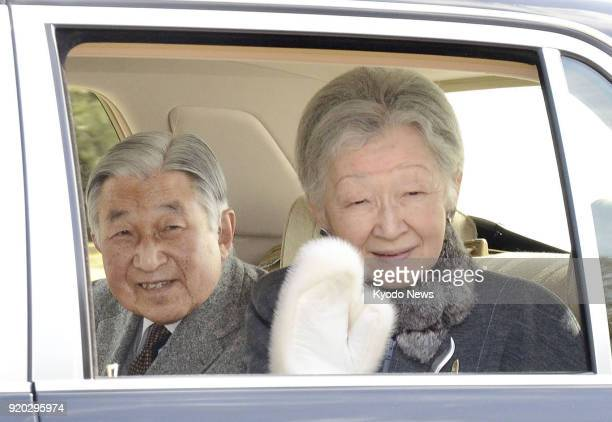 Japanese Emperor Akihito and Empress Michiko leave the Imperial Palace in Tokyo on Feb 19 for Hayama Imperial Villa in Hayama south of Tokyo ==Kyodo