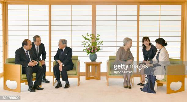 Japanese Emperor Akihito and Empress Michiko meet with Vietnamese Prime Minister Nguyen Xuan Phuc and his wife Tran Nguyet Thu at the Imperial Palace...