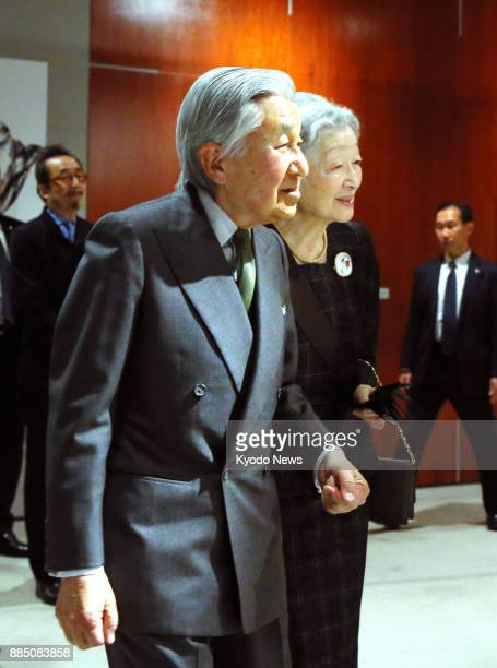 Japanese Emperor Akihito and Empress Michiko visit a botanical art exhibition in Tokyo on Dec 2 2017 Their eldest granddaughter Princess Mako took...