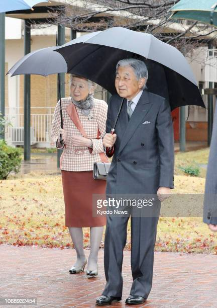 Japanese Emperor Akihito and Empress Michiko visit a welfare facility set up for people with learning disabilities in Tokyo's Kunitachi city on Dec 6...