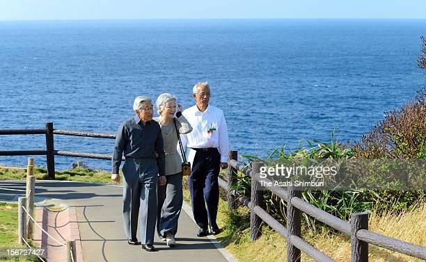 Japanese Emperor Akihito and Empress Michiko visit Manza Mou, or Cape Manza on November 19, 2012 in Onna, Okinawa, Japan.