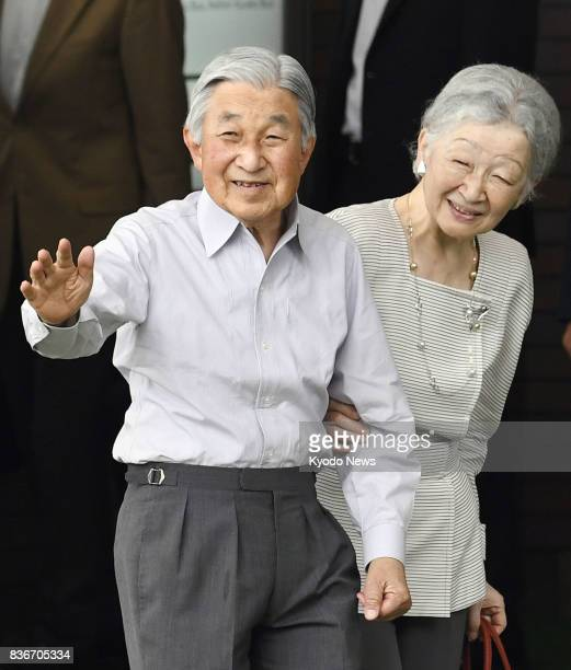 Japanese Emperor Akihito and his wife Empress Michiko arrive in Karuizawa a resort town in Nagano Prefecture central Japan on Aug 22 2017 The...