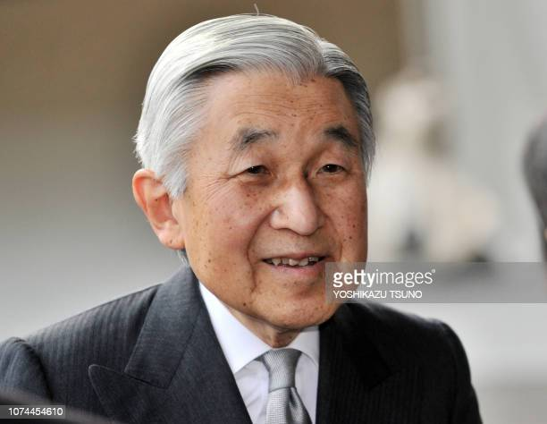 Japanese Emperor Akihito arrives at the Tokyo National Museum to view an exhibition of 200 selected masterpieces from the Palace Museum of Beijing on...