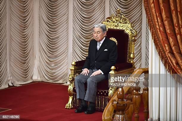 Japanese Emperor Akihito attends the opening ceremony of a 150day ordinary Diet session in Tokyo on January 20 2017 Japan's parliament usually opens...