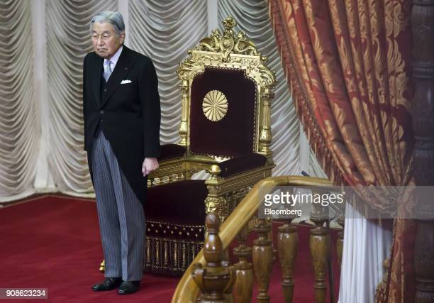 Japanese Emperor Akihito attends the opening of the 196th diet session at the upper house of parliament in Tokyo Japan on Monday Jan 22 2018 A plan...