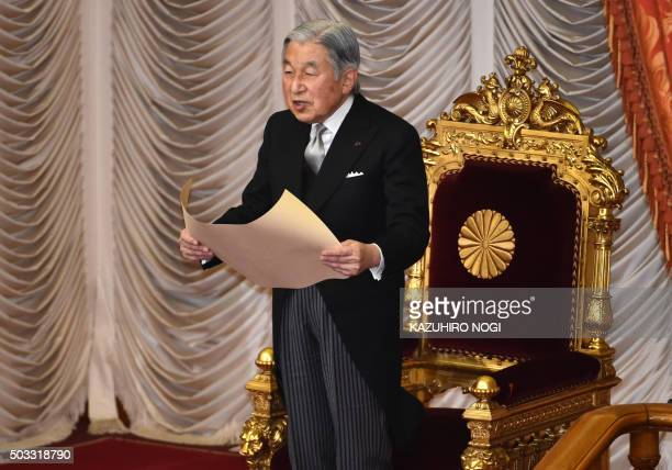Japanese Emperor Akihito delivers a speech during the opening ceremony of a 150day ordinary Diet session in Tokyo on January 4 2016 The 190th...