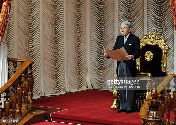 Japanese Emperor Akihito delivers a speech during the opening ceremony of the 150day ordinary parliament session at the house of councilors in Tokyo...