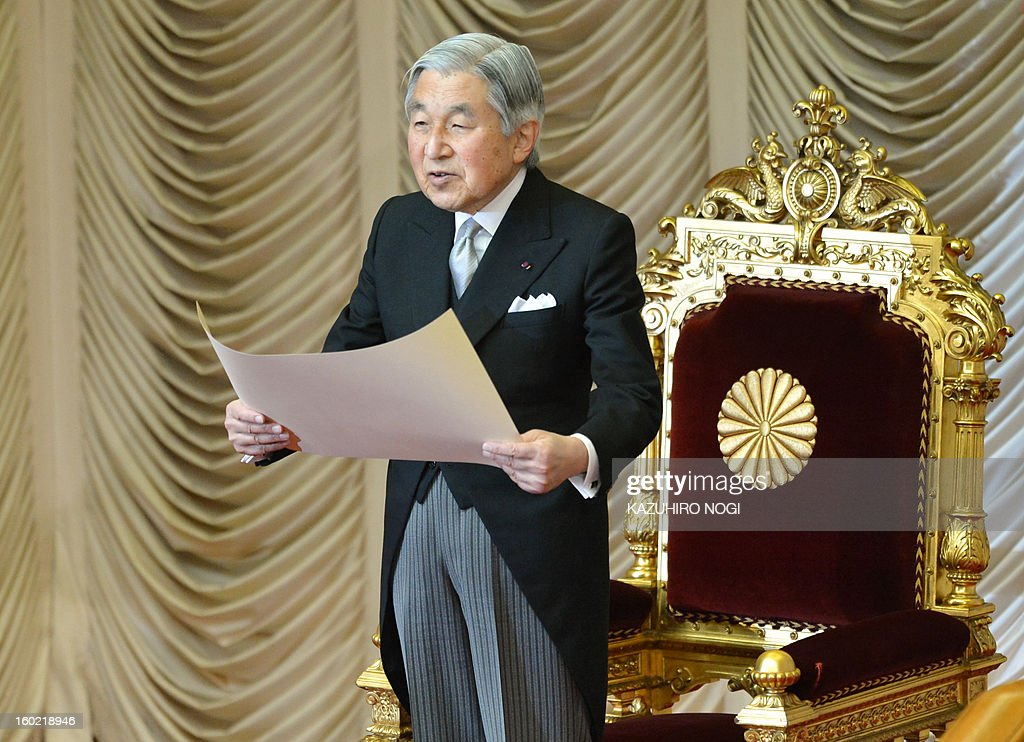 Japanese Emperor Akihito delivers a speech during the opening ceremony of the 150-day parliament session at the parliament in Tokyo on January 28, 2013. Prime Minister Shinzo Abe pledged on January 28 he would not keep stimulus spending 'forever' in a policy speech ahead of a budget that will raise more in taxes than it does from borrowing.