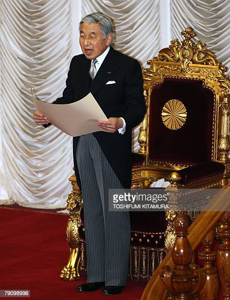 Japanese Emperor Akihito delivers his opening address for the 169th ordinary parliament session at the House of Councilors in Tokyo 18 January 2008...
