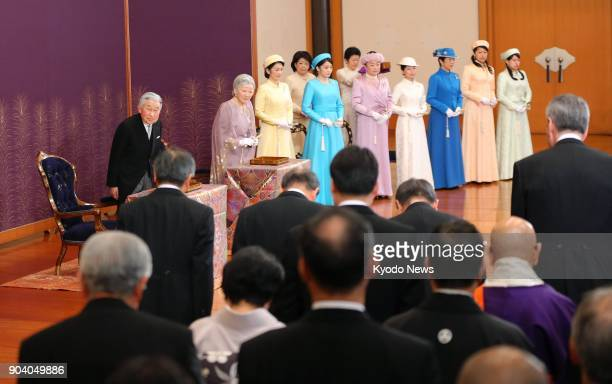 Japanese Emperor Akihito Empress Michiko and other members of the imperial family attend the annual New Year Poetry Reading Ceremony at the Imperial...