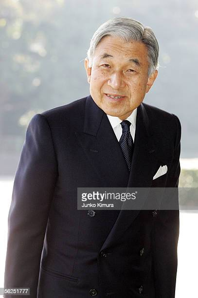 Japanese Emperor Akihito is seen after seeing off Russian President Vladimir Putin at the Imperial Palace on November 22 2005 in Tokyo Japan Putin is...