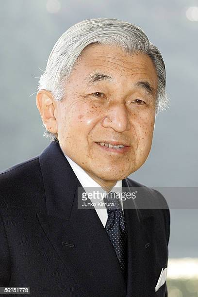Japanese Emperor Akihito is seen after seeing off Russian President Vladimir Putin is led by at the Imperial Palace on November 22 2005 in Tokyo...