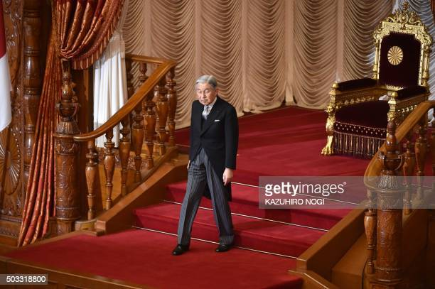 Japanese Emperor Akihito leaves after the opening ceremony of a 150day ordinary Diet session in Tokyo on January 4 2016 The 190th ordinary session of...