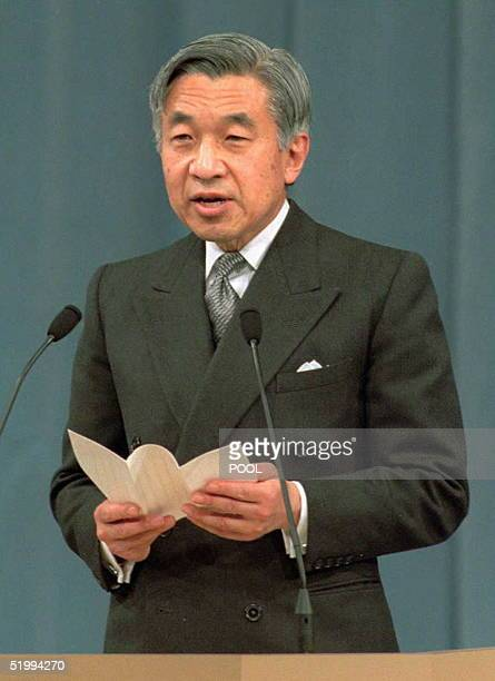 Japanese Emperor Akihito makes a speech during the end of World War II 50th anniversary ceremony at the National theater in Tokyo 18 December Emperor...