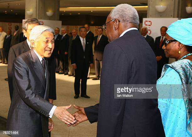 Japanese Emperor Akihito meets Lamine Diack President of the IAAF and his wife during day one of the 11th IAAF World Athletics Championships on...
