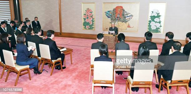 Japanese Emperor Akihito speaks at a press conference at the Imperial Palace in Tokyo on Dec 20 ahead of his 85th birthday on Dec 23 ==Kyodo
