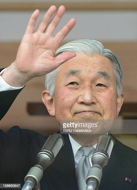 Japanese Emperor Akihito waves to wellwishers as he celebrates his 79th birthday at the Imperial Palace in Tokyo on December 23 2012 Japanese Emperor...