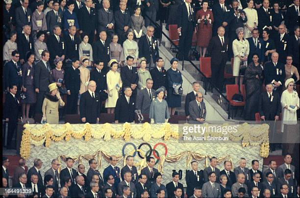 Japanese Emperor Hirohito declares the opening of Tokyo Olympic during Tokyo Olympic Opening Ceremony at the National Stadium on October 10, 1964 in...