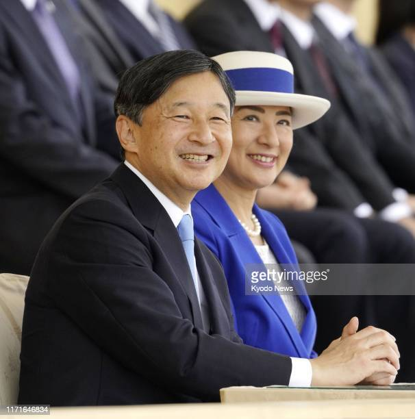 Japanese Emperor Naruhito and Empress Masako attend the opening ceremony of the country's National Sports Festival on Sept. 28 in Ibaraki Prefecture,...
