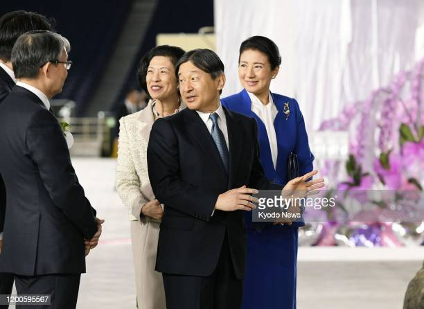 Japanese Emperor Naruhito Empress Masako and Princess Hisako visit Japan Grand Prix International Orchid and Flower Show at Tokyo Dome in the...