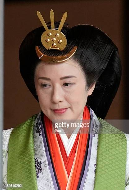 Japanese Empress Masako leaves the ceremony hall after Emperor Naruhito proclaimed his enthronement at the Imperial Palace on October 22, 2019 in...