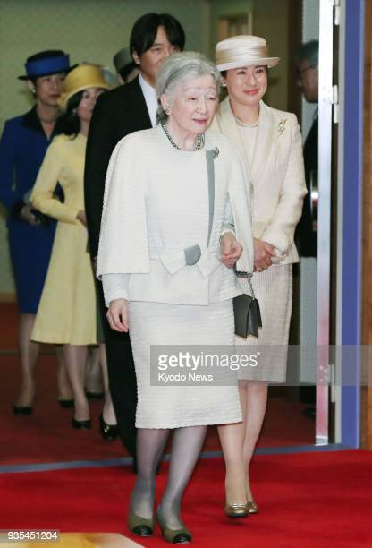 Japanese Empress Michiko and Crown Princess Masako attend a concert by new graduates of music universities at the Imperial Concert Hall of the...